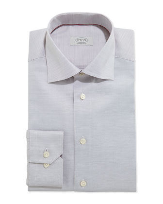 Contemporary Textured Dress Shirt, White/Brown