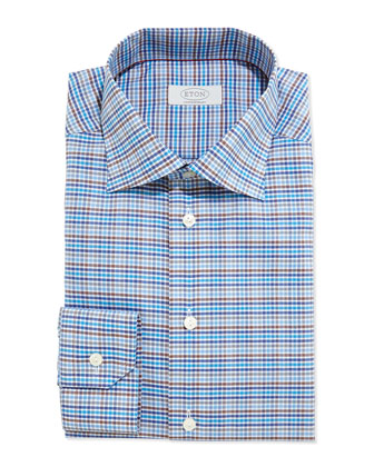 Contemporary Fit Plaid Dress Shirt, Blue/Brown