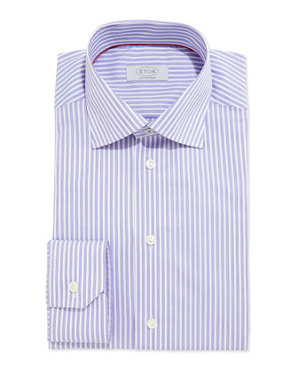 Contemporary Striped Dress Shirt, Purple/White