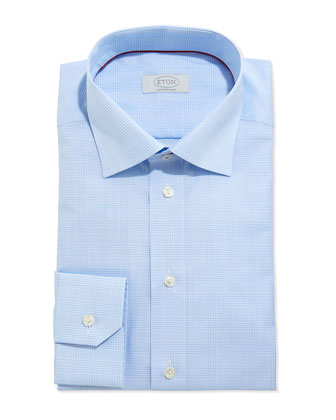 Contemporary Glen Plaid Woven Dress Shirt, Light Blue