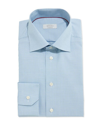Small-Check Dress Shirt, Blue/Green