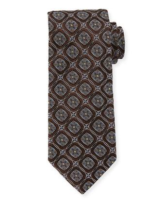 Circle-Medallion Wide Silk Tie, Brown