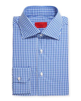Woven Check Dress Shirt, Blue