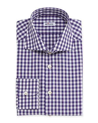 Gingham-Check Dress Shirt, Purple/White