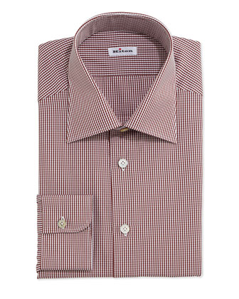 Mini-Gingham Dress Shirt, Tobacco