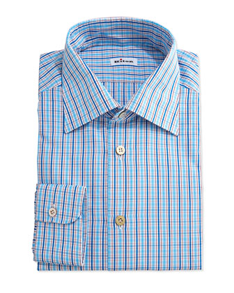 Multi-Check Woven Dress Shirt, Blue/Red