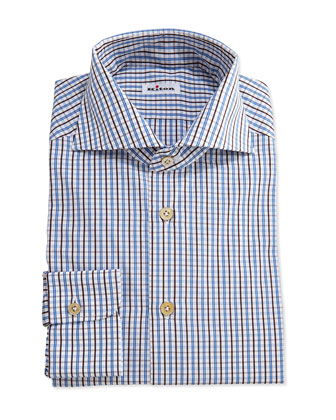 Tattersall Woven Dress Shirt, Brown/Blue
