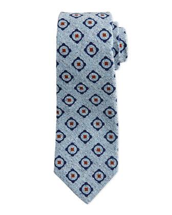 Circle-Medallion Chambray Tie, Navy
