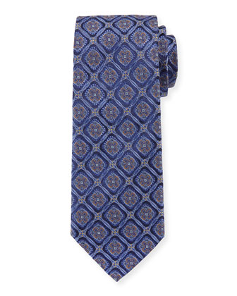 Circle-Medallion Wide Silk Tie, Navy