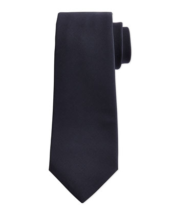 Solid Woven 15-Micron Tie, Navy