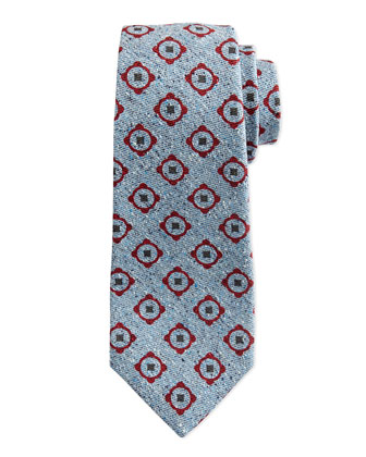 Medallion Print Chambray Tie, Red