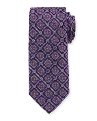 Circle-Medallion Wide Silk Tie, Purple