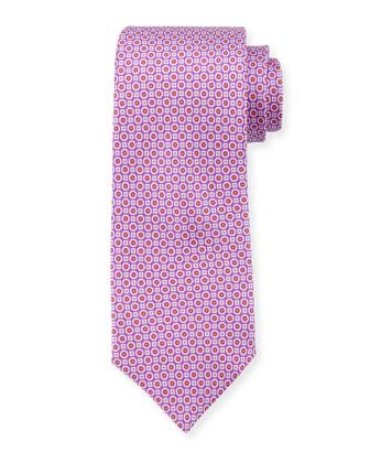 Medallion Neat Silk Tie, Fuchsia
