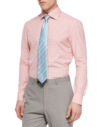 Herringbone-Striped Tie, Light Blue