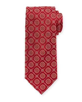 Circle-Medallion Silk Tie, Red