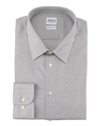 Modern-Fit Textured Mini-Check Dress Shirt, Light Gray