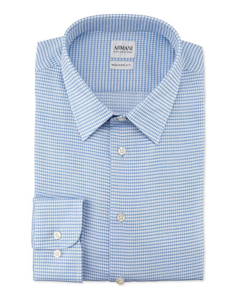 Modern-Fit Textured Box-Neat Dress Shirt, Light Blue