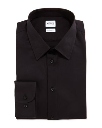 Modern Fit Stretch-Poplin Dress Shirt, Black