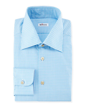 Mini-Check Woven Dress Shirt, Aqua/Gray
