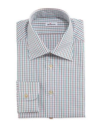 Graph-Check Dress Shirt, Brown/Green