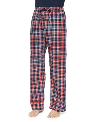 Check Flannel Lounge Pants, Med Orange