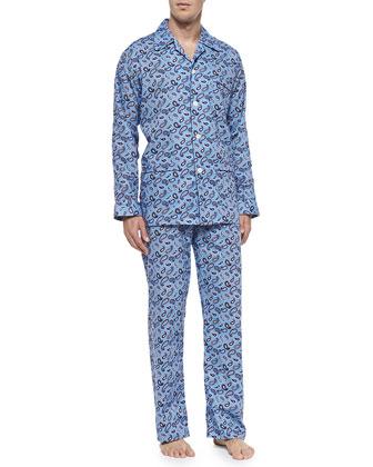 Paisley-Print Pajama Set, Blue