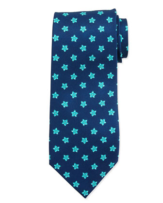 Flower Pattern Neat Silk Tie, Blue