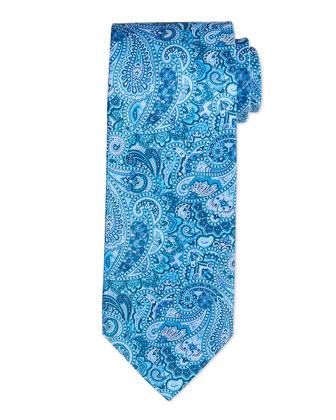 Paisley Woven Silk Tie, Teal