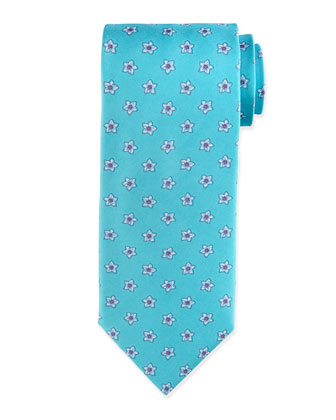 Flower Pattern Neat Silk Tie, Teal