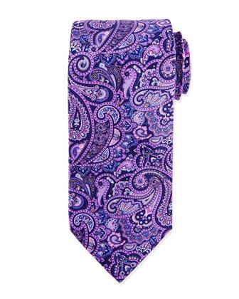 Paisley Woven Silk Tie, Purple