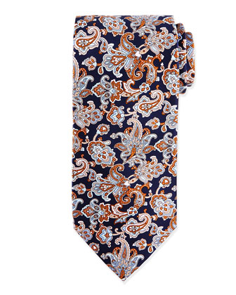 Paisley Woven Silk Tie, Pink
