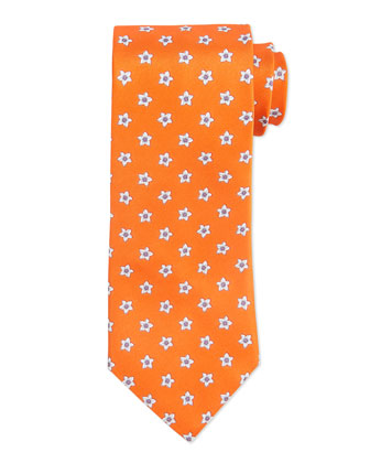 Flower Pattern Neat Silk Tie, Orange