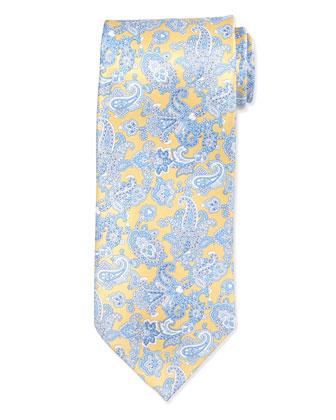 Paisley Woven Silk Tie, Yellow