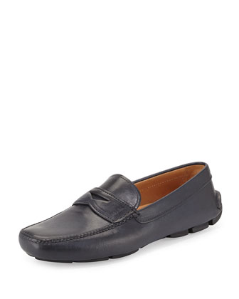 Leather Driver Loafer, Navy