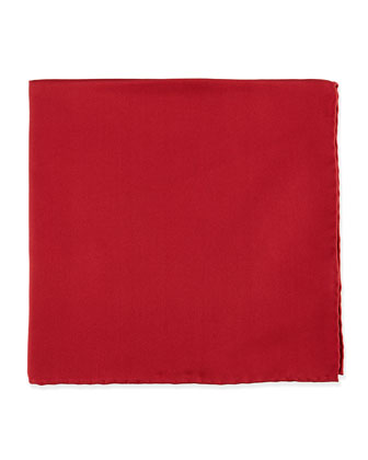 Silk Pocket Square, Cranberry