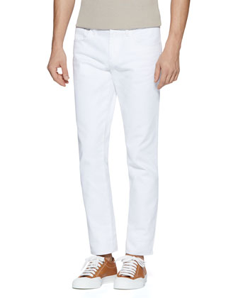 Resinated Cotton Skinny Jean, White