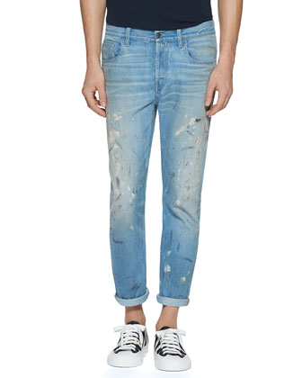 Hand-Painted Bleach-Washed 1953 Jeans, Light Blue
