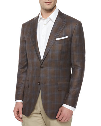 Plaid Two-Button Sport Coat, Brown/Turquoise