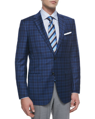 Plaid Two-Button Sport Coat, Navy/Light Blue