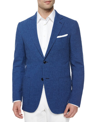 Wool/Linen Gingham Seersucker Jacket, Blue