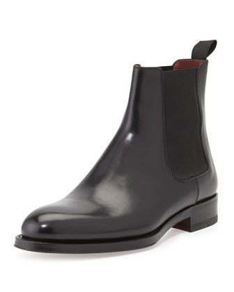 Polished Leather Chelsea Boot, Black
