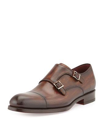 Leather Double-Monk Shoe, Brown