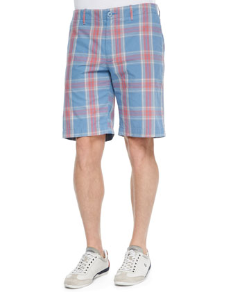 Woven Plaid-Print Bermuda Shorts, Orange/Gray