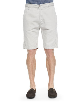 Cotton-Blend Chino Shorts, White Sand