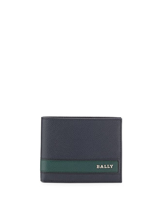 Calf Leather Bi-Fold Wallet, Dark Navy