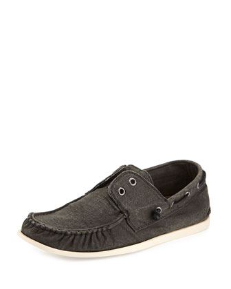 Schooner Canvas Boat Shoe, Black