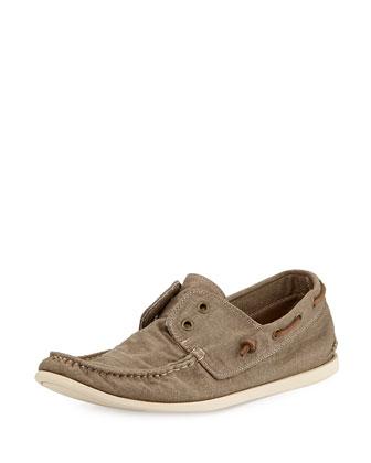 Schooner Canvas Boat Shoe, Beige