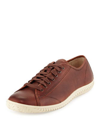 Hattan Low-Top Leather Sneaker, Brown