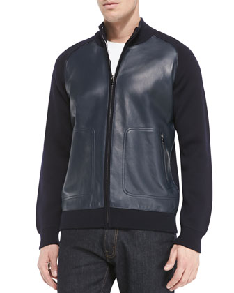 Knit and Leather Bomber Jacket, Navy