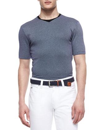 Textured Jacquard Short-Sleeve Tee, Navy